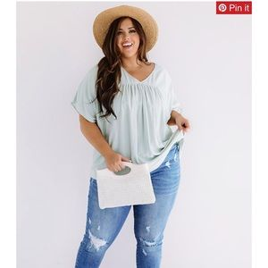 Mint Colored Smock Top